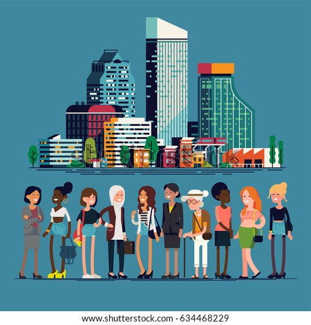 Modern women of big city concept flat design illustration. Quality character and landscape design on diverse women and city skyline