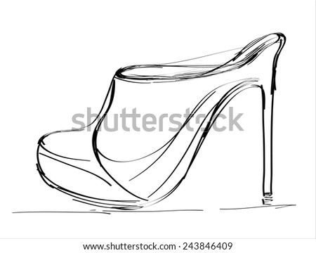 Modern womens fashion shoes isolated on white background.Hand drawn illustration sketch. - stock vector
