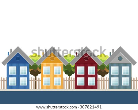 Modern Wooden Houses, Colorful City