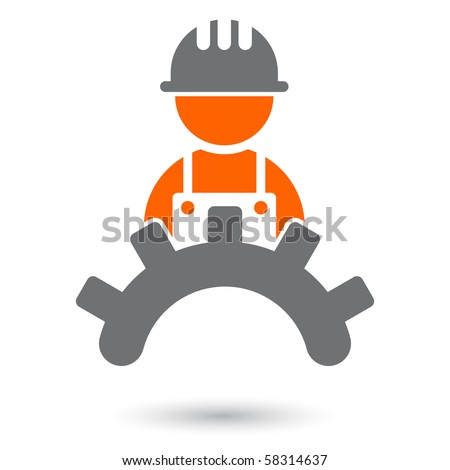 modern worker sign - stock vector