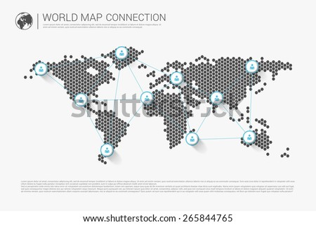 Modern world map connection concept. Vector - stock vector