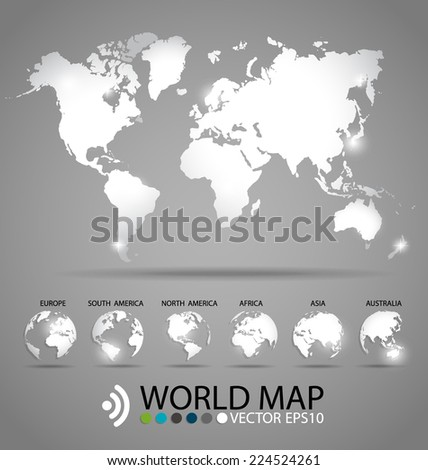 Modern world map design, vector illustration. - stock vector