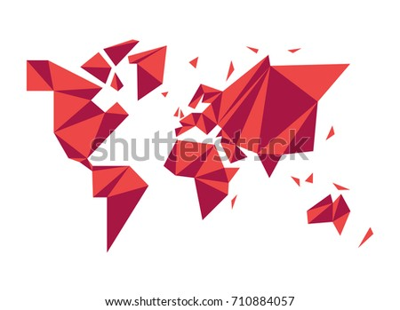 Modern world map illustration template abstract vector de modern world map illustration template in abstract low poly geometric style simple planet silhouette shape gumiabroncs Image collections