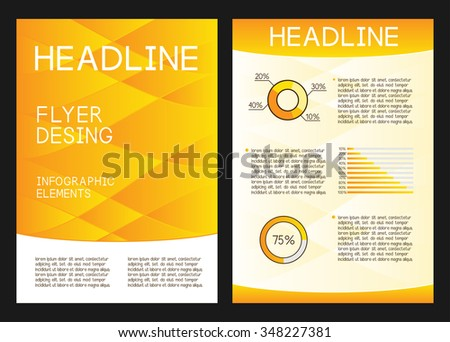 Modern yellow background. Abstract brochure design. Infographic elements.