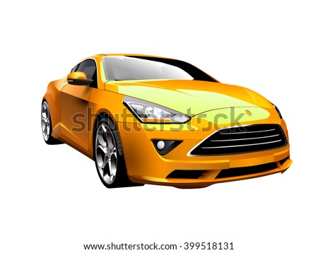 Modern yellow car. Vector illustration