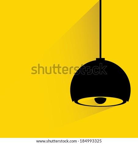 modern yellow hanging lamp, interior design background - stock vector