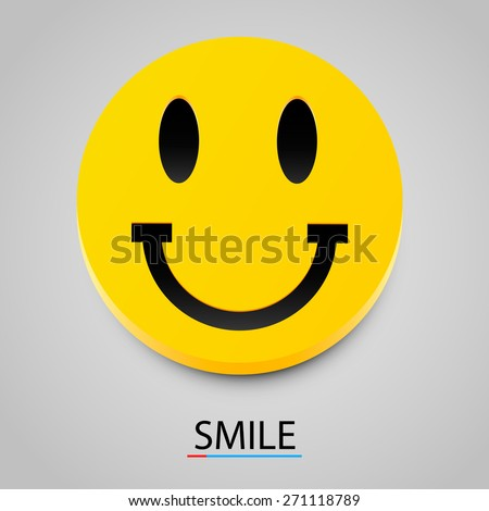 Modern yellow laughing happy smile. Vector illustration - stock vector