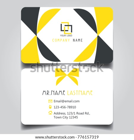 modern yellow white blacktheme of creative business card and name card with horizontal curve corner template