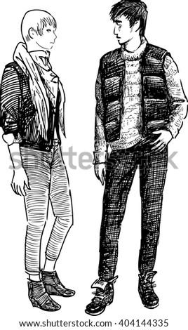 modern young couple - stock vector