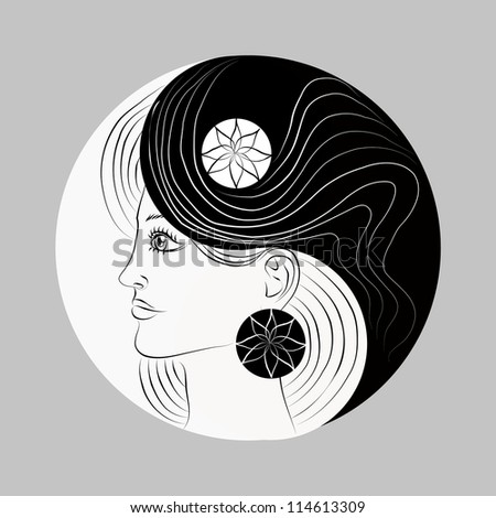 Modified Yin and Yang symbol. Woman portrait. Logotype. Vector illustration. - stock vector