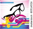 Modish background with retro glasses. Vector illustration. - stock photo