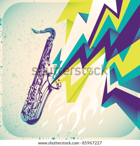 Modish banner with saxophone. Vector illustration. - stock vector