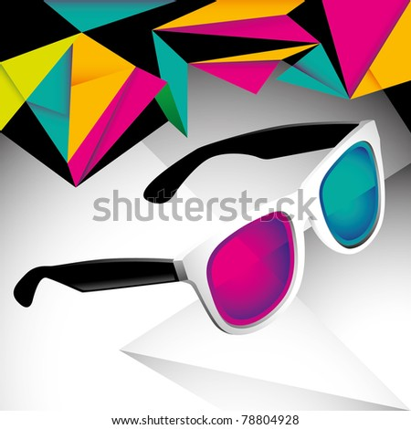 Modish funny background with sunglasses. Vector illustration. - stock vector