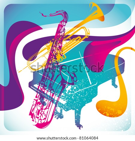 Modish musical background in color. Vector illustration. - stock vector