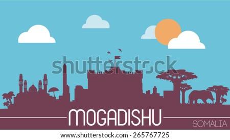 Mogadishu city Somalia skyline silhouette flat design vector illustration - stock vector