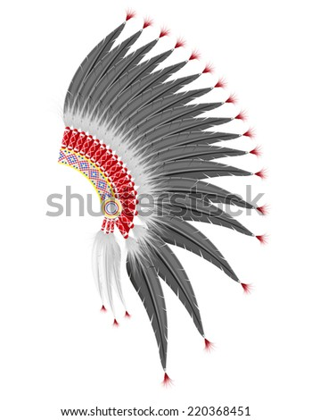mohawk hat of the american indians vector illustration isolated on white background - stock vector