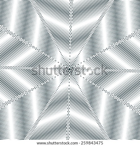 Moire style, gradient optical pattern, motion effect tile. Decorative lined hypnotic contrast background. - stock vector
