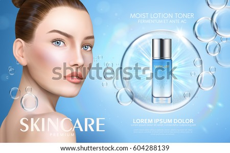 moist lotion toner contained in bottle, with model and bubble elements, 3d illustration