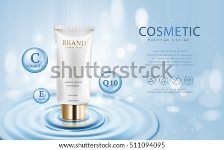 Moisturizing cosmetic ads template, 3D illustration cosmetic mockup upon water and isolated on bokeh background