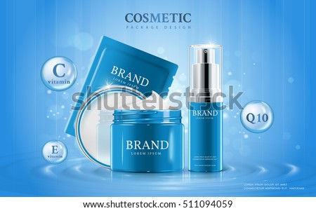 Moisturizing cosmetic ads template, 3D illustration cosmetic mockup upon water with elements around the products