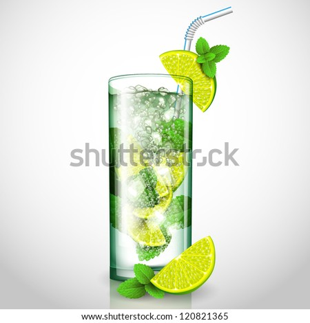 mojito cocktail - stock vector