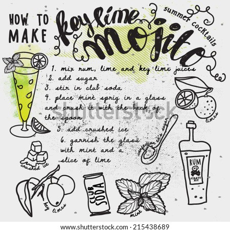 Mojito Recipe Typography Poster - How to make a key lime mojito recipe card, with instructions and hand drawn ingredients, including limes, rum, soda can and mint leaves - stock vector