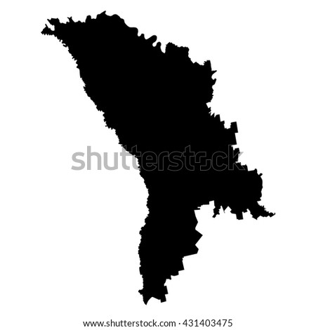 Moldova black map on white background vector