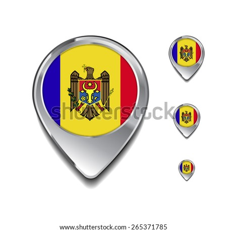 Moldova flag map pointer. 3d Map Pointer with flag glossy button style on gray background - stock vector