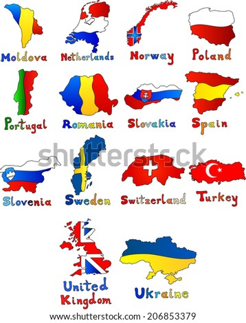 Moldova, Netherlands, Norway, Poland, Portugal, Romania, Slovakia, Spain, Slovenia, Sweden, Switzerland, Turkey, United Kingdom, Ukraine map set  - stock vector