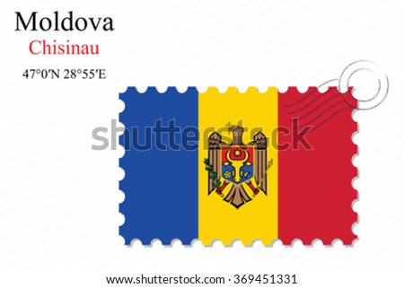 moldova stamp design over stripy background, abstract vector art illustration, image contains transparency