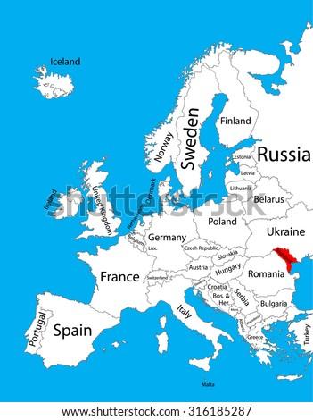 Moldova Vector Map Europe Vector Map Stock Vector 316185287
