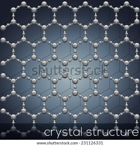 Molecular model of the crystal structure. - stock vector