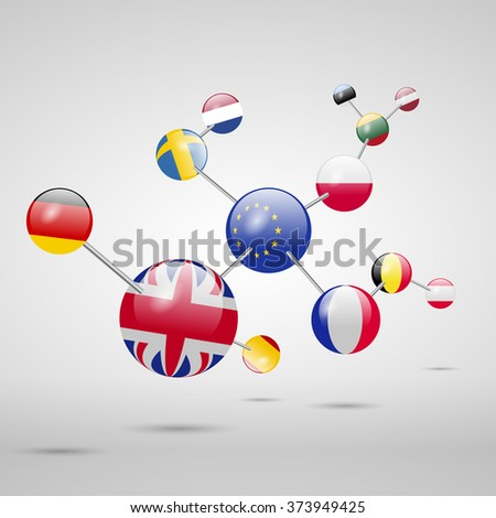 Molecular model with flags. - stock vector