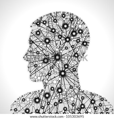 molecular structure in the form of a human head. communication between cells. File is saved in AI10 EPS version. This illustration contains a transparency - stock vector