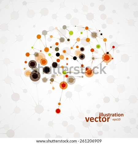 Molecular structure in the form of brain, futuristic vector illustration eps1 - stock vector