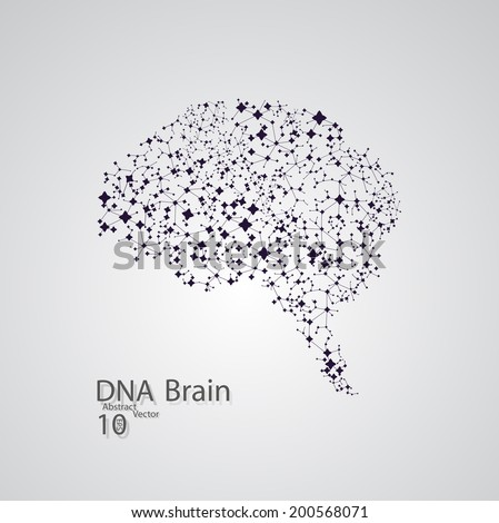 Molecular structure in the form of brain,  vector elegant illustration
