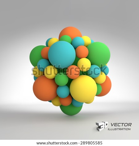 Molecular structure with spheres. 3d vector Illustration. can be used for marketing, website, presentation. - stock vector