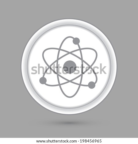 molecule. circle grey icon with a shadow.