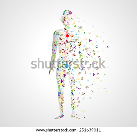 Molecule concept of the human body Abstract model of man of DNA molecule. Eps10  - stock vector