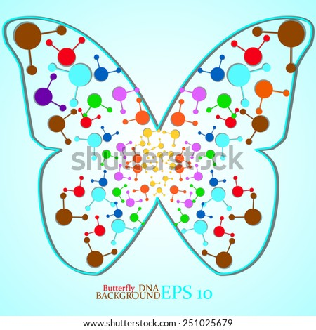 Molecule DNA along the contour butterfly. Abstract background. Eps10.Vector illustration - stock vector