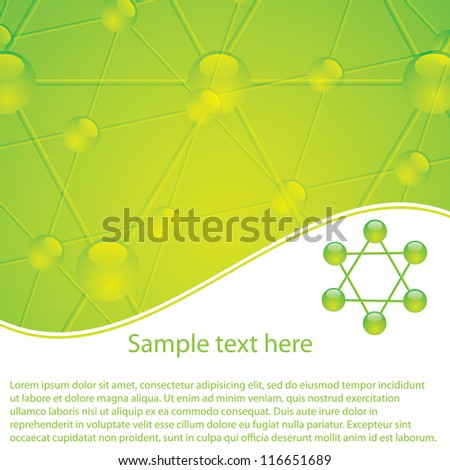 Molecule illustration green background - stock vector