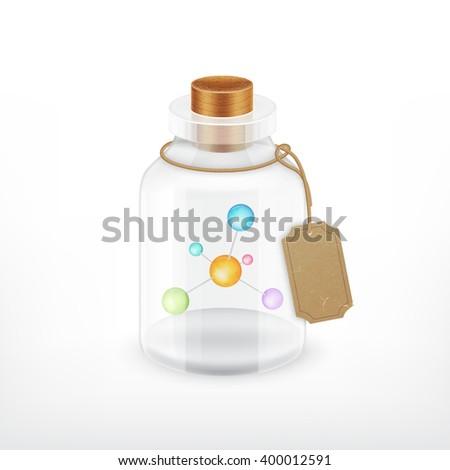 Molecule in a bottle. Vector icon. EPS10 vector - stock vector