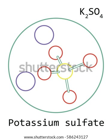 Molecule K 2 So 4 Potassium Sulfate Isolated On Stock Vector