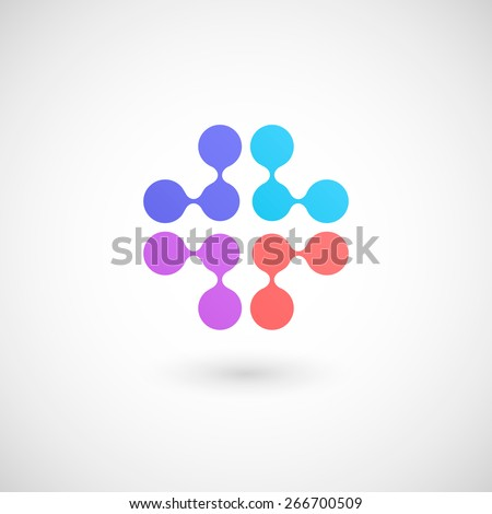 Molecule logo template. Isolated on white background. Vector illustration, eps 10. - stock vector