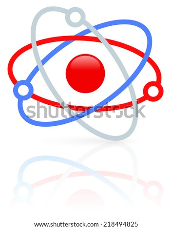 Molecule, molecular structure. Nucleus with orbiting electrons. icon or symbol - stock vector