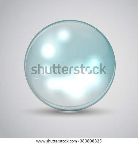 Molecule of water on a white background with a glow inside. Bubble water. Water drop. Vector illustrations. Transparent drop of water - stock vector