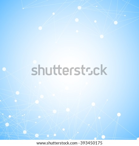 Molecule structure and communication on the blue background. Connected lines with dots. Vector illustration.