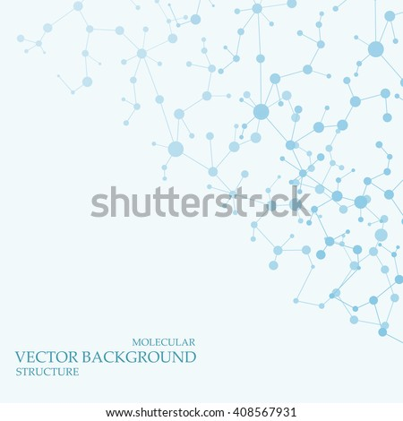 Molecule structure and communication on the blue background. Vector illustration - stock vector