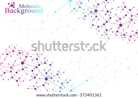 Molecule structure dna and communication background. Connected lines with dots. Concept of the science, connection, chemistry, biology, medicine, technology. Vector illustration - stock vector