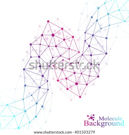 Molecule structure dna and communication background. Connected lines with dots. Concept of the science, connection, chemistry, biology, medicine, technology. Vector illustration. - stock vector